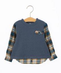 SHIPS KIDS/SHIPS KIDS:スウェット×ネルチェックシャツ コンビ トップス(80~90cm)/500596021