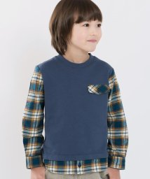 SHIPS KIDS/SHIPS KIDS:スウェット×ネルチェックシャツ コンビ トップス(100~130cm)/500596023