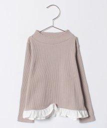 b-ROOM/テレコ裾フリルつきハイネックTシャツ/500589602