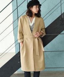 marjour/リボン付きノーカラージャケットコート/500598629