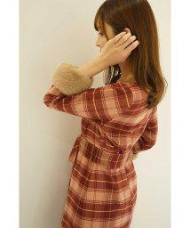 PROPORTION BODY DRESSING/レディーチェック袖ファーワンピース/500601181