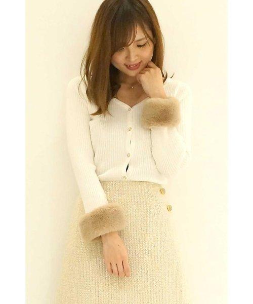 PROPORTION BODY DRESSING(プロポーション ボディドレッシング)/【CanCam 1月号掲載】ファーカフスVニットカーディガン/1217274100