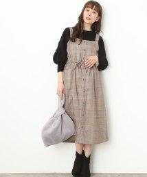 ViS/グレンチェック前ボタンジャンパースカート/500603638