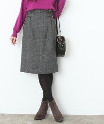 ViS/チェック柄サイドベルトタイトスカート/500606249