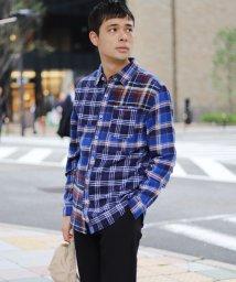 GIORDANOM/ライオン刺繍ネルブロッキングシャツ/500603824