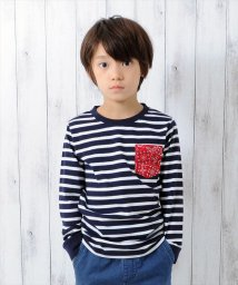 GLAZOS/[復刻]天竺ボーダー・バンダナポケット長袖Tシャツ/500612078