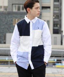 GIORDANOM/ライオン刺繍ニットブロッキングシャツ/500603829