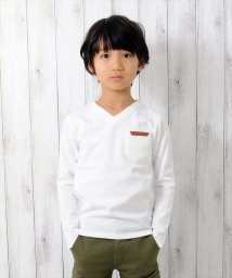 GLAZOS/厚手天竺レザーパッチポケット長袖Tシャツ/500635165