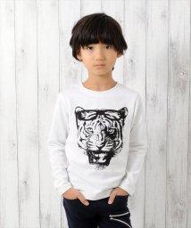 GLAZOS/厚手天竺タイガーモチーフ長袖Tシャツ/500635168