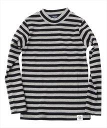 GLAZOS/厚手フライス・ボーダーハイネック長袖Tシャツ/500635170