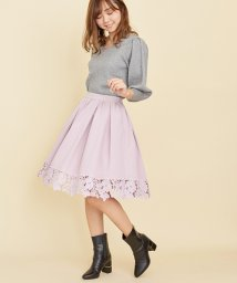 Noela/裾レース切替フレアスカート/500636221