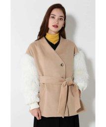 ROSE BUD/袖ファージャケットコート/500637591