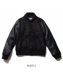 THE CASUAL/PU袖×ウールメルトンスタジャン/500650780