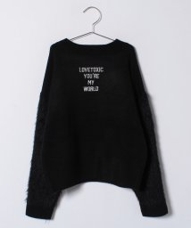Lovetoxic/ロゴ刺しゅう入り袖フェザーヤーンニット/500642424