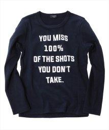 GLAZOS/起毛フライス・メッセージプリント長袖Tシャツ/500650846