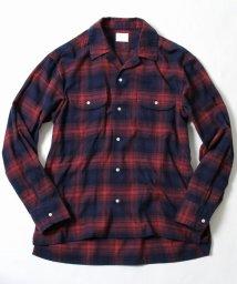 coen/ネルチェックオープンカラーシャツ/500647400