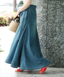 ROPE' mademoiselle/【woad blue】×【ロペマドモアゼル】ベルト付マキシデニムスカート/500654771