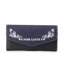 PINK-latte/花刺繍フラップ長財布/500655430