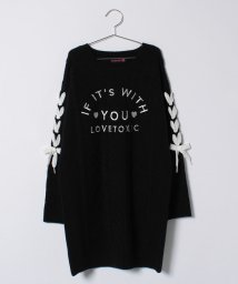 Lovetoxic/袖レースアップロゴ刺しゅう入りケーブルニットワンピース/500651939