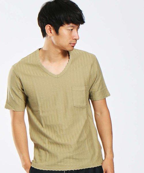 ABAHOUSE(ABAHOUSE)/鹿の子サッカーストライプVネックTシャツ/00341021204