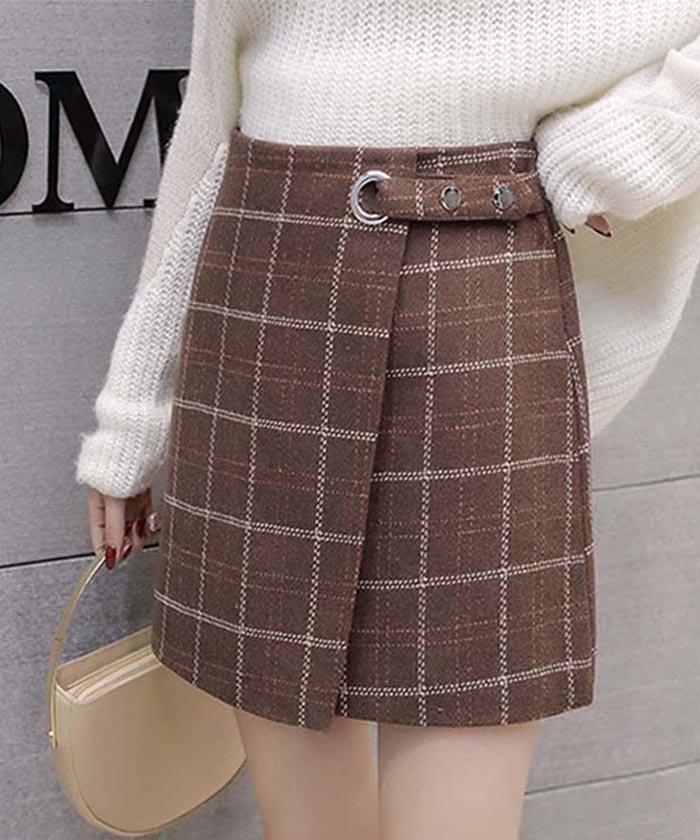 台形スカート ミニスカート 秋冬 チェック ハイウエスト ラップスカート