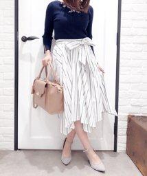 Noela/【セットアップ対応商品】ランダムヘムストライプシャツスカート/500681600