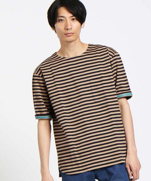 ABAHOUSE(ABAHOUSE)/【WEB別注】圧着ポンチボーダーポケットTシャツ/00355021104