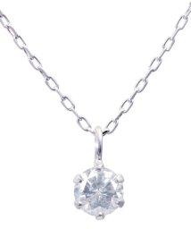 JEWELRY SELECTION/K18WG 天然ダイヤモンド 0.1ct 6本爪一粒ネックレス/500696158