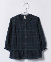 LAGOM/チェック裾フレアブラウス/500694588