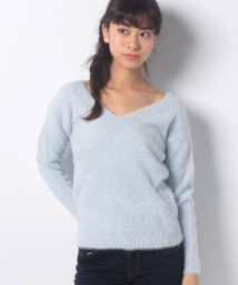 AZUL by moussy/フェザーヤーンV/ネック長袖プルオーバー/500679325