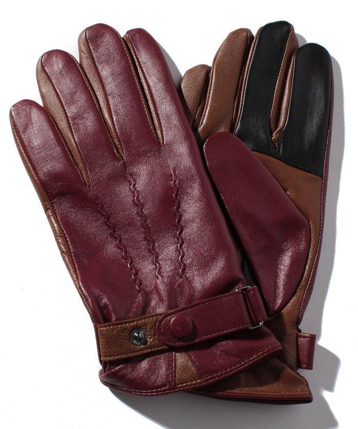 3Dレザーボタン付き手袋