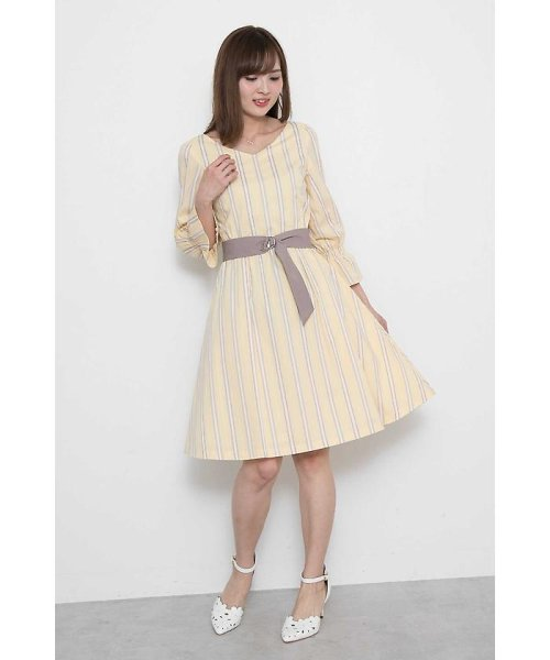 PROPORTION BODY DRESSING(プロポーション ボディドレッシング)/◆カラーストライプサッシュ付ワンピース/1218140310