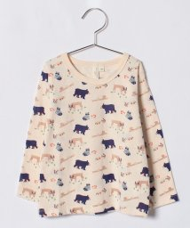 LAGOM/森の動物総柄長袖Tシャツ/500708079