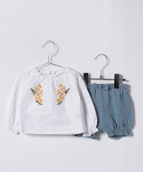 petit main(プティマイン)/花刺しゅうブラウス×ブルマセット/9681511