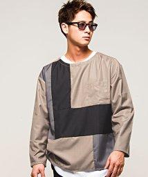 CavariA/CavariA【キャバリア】ブロッキングツイルクルーネック長袖Tシャツ/500739111