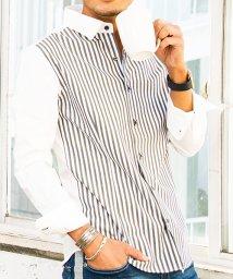 CavariA/CavariA【キャバリア】日本製ストライプ柄コンビネーションデザインレギュラーカラー長袖シャツ/500739152
