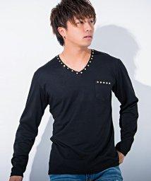 CavariA/CavariA【キャバリア】スタッズ付きVネック長袖Tシャツ/500739842