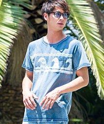 CavariA/CavariA【キャバリア】インディゴ染めウェーブ柄クルーネック半袖Tシャツ/500740495