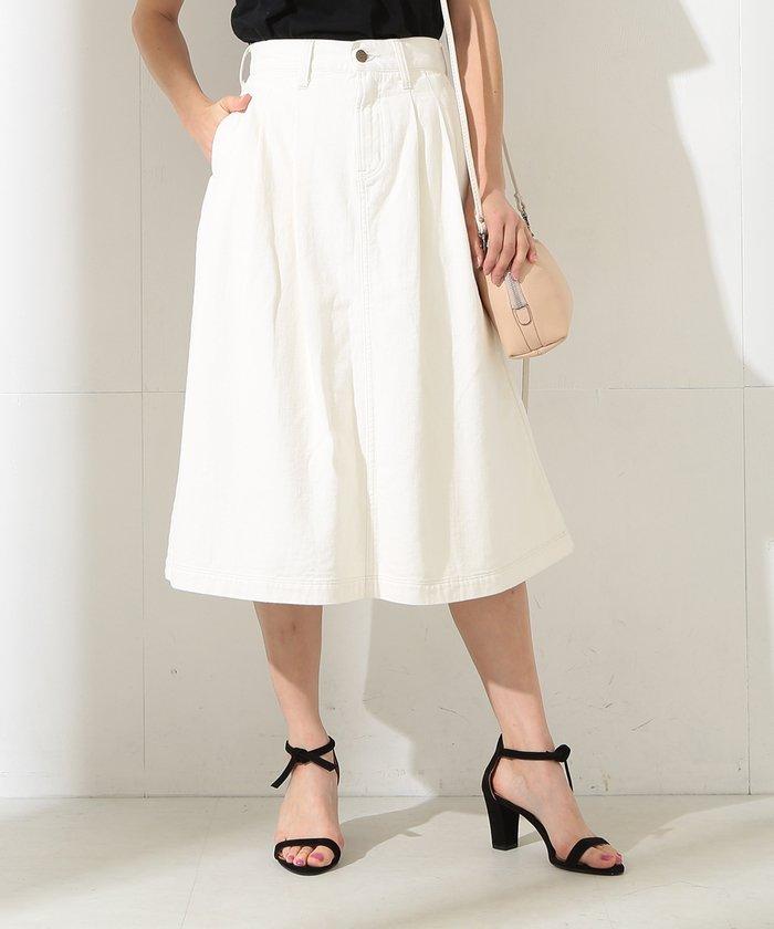 【Demi-Luxe BEAMS】Lee / 別注 タックホワイトスカート