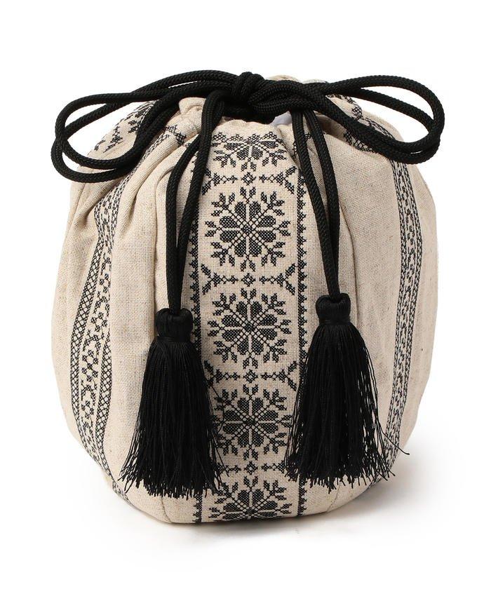 Casselini / 刺繍 丸巾着 バッグ