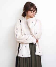 and Me.../刺繍入り フェイクファー ジャケット カーディガン レディース ノーカラー/500759529