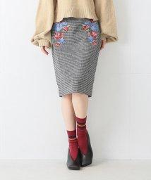 Ray BEAMS/Ray BEAMS / チェック 刺繍 タイト スカート/500760230
