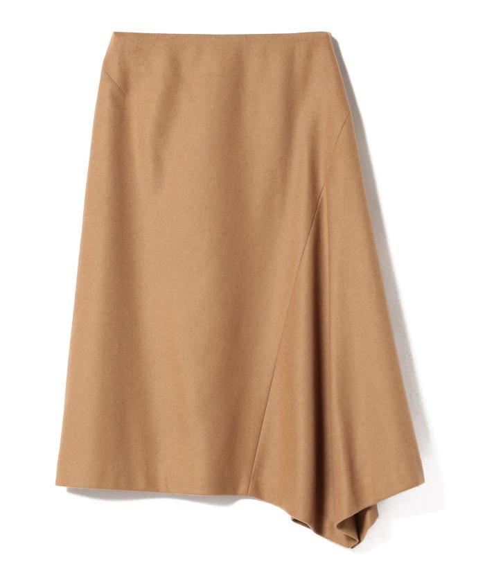 Demi−Luxe BEAMS / キャメル混アシンメトリーヘムスカート