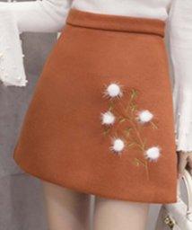 miniministore/ファー付き刺繍入り台形スカート ミニスカート aラインスカート レディース/500762543