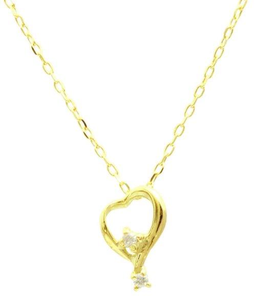 JEWELRY SELECTION(ジュエリーセレクション)/贅沢なオール18金ゴールド!K18ゴールド 天然ダイヤモンド ネックレス 選べる3カラー 【ティアドロップハート/K18YG】/NSUZ12624001CTA40K18YG