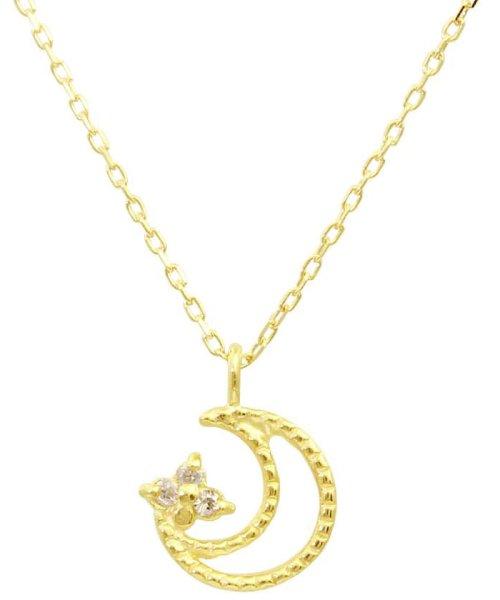 JEWELRY SELECTION(ジュエリーセレクション)/贅沢なオール18金ゴールド!K18ゴールド 天然ダイヤモンド ネックレス 選べる3カラー 【ムーンミル/K18YG】/NSUZ12662001CTA40K18YG