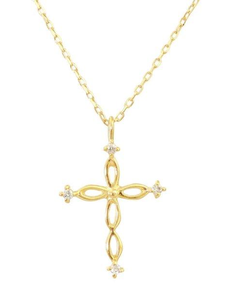 JEWELRY SELECTION(ジュエリーセレクション)/贅沢なオール18金ゴールド!K18ゴールド 天然ダイヤモンド ネックレス 選べる3カラー 【ツイストクロス/K18YG】/NSUZ12663001CTA40K18YG