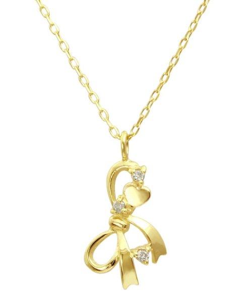 JEWELRY SELECTION(ジュエリーセレクション)/贅沢なオール18金ゴールド!K18ゴールド 天然ダイヤモンド ネックレス 選べる3カラー 【リボン/K18YG】/NSUZ12664001CTA40K18YG