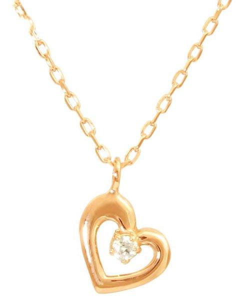 JEWELRY SELECTION(ジュエリーセレクション)/贅沢なオール18金ゴールド!K18ゴールド 天然ダイヤモンド ネックレス 選べる3カラー 【ハート/K18PG】/NSUZ12715001CTA40K18PG