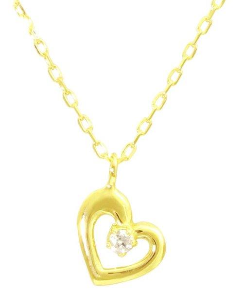 JEWELRY SELECTION(ジュエリーセレクション)/贅沢なオール18金ゴールド!K18ゴールド 天然ダイヤモンド ネックレス 選べる3カラー 【ハート/K18YG】/NSUZ12715001CTA40K18YG